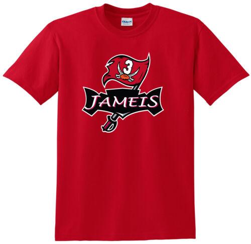 "RED Jameis Winston Tampa Bay Buccaneers /""Bucs Logo/"" T-shirt jersey S-5XL"