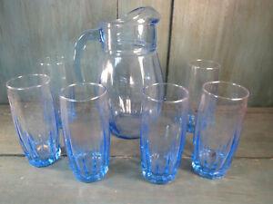antiguo-servicio-naranjada-sirop-vintage-1-jarra-6-verres-bleus-french-antigua