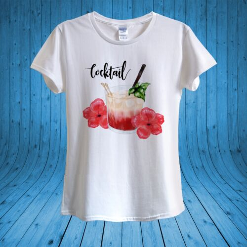 Cocktail Glass Straw Drinking Summer Party T-shirt 100/% cotton unisex women