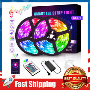 32.8Ft LED Strip Lights WiFiMusic Sync RGB 5050 LED Tape Lights Color Changing