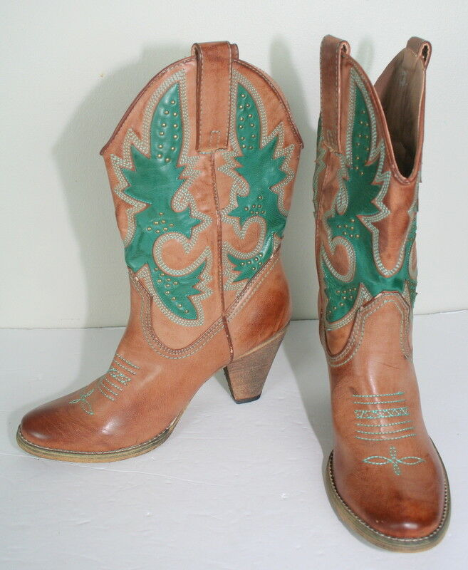 Very Volatile Marronee Teal Studded Faux Vegan Leather Western Cowboy Heel stivali 9