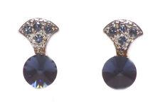 Opulent & Timeless Topaz Blue Diamanté & Chrome Stud Metal Earrings(Zx223)