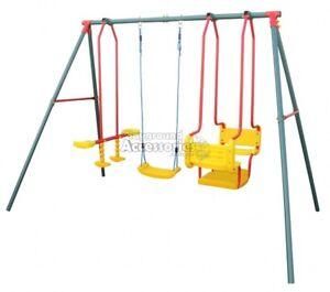 Hurricane-Triple-Swing-Set-with-Boat-Glide-amp-Single-Swing-Seat-Backyard-Swings