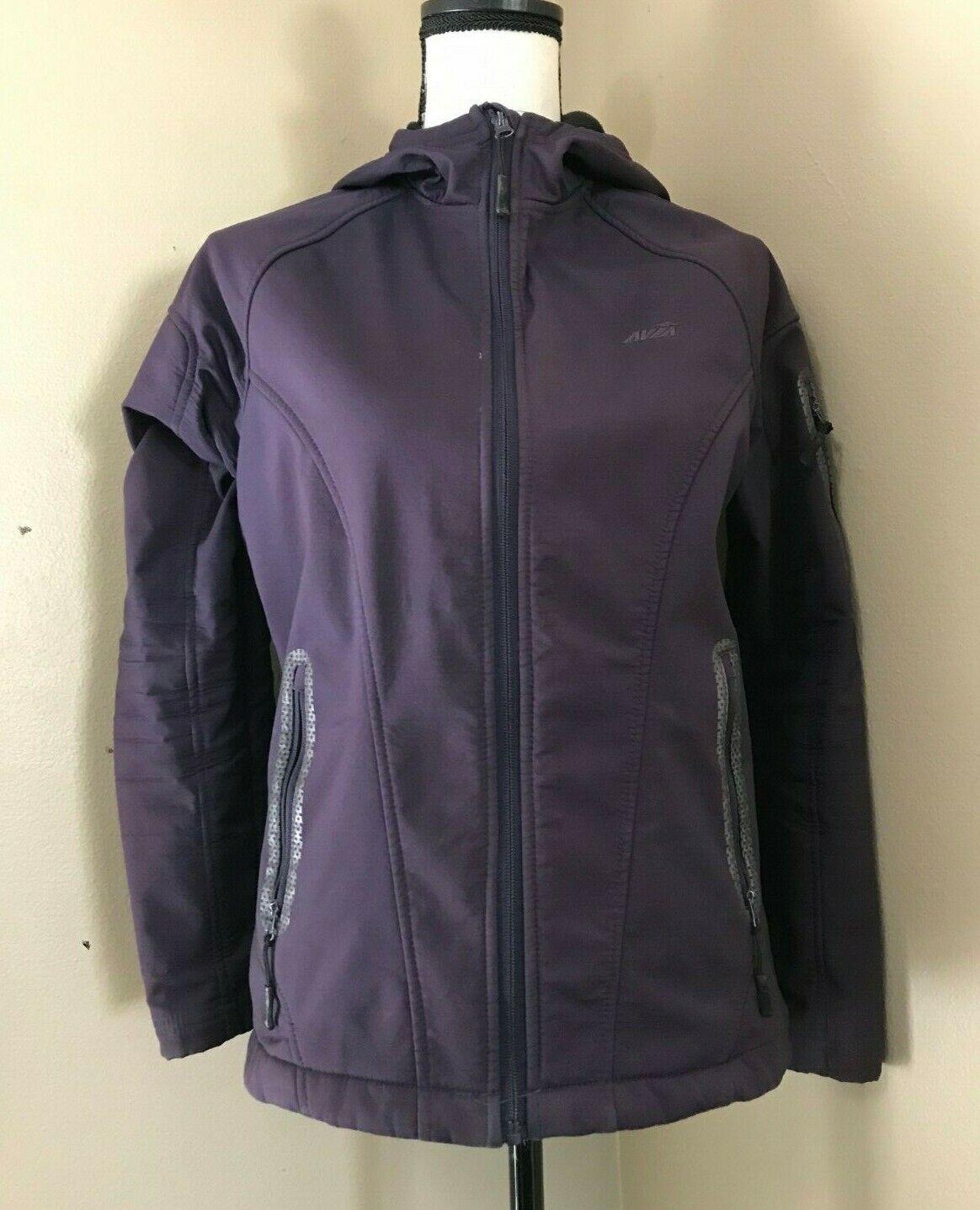 AVIA Women's S Purple Fleece Lined Reflective Active JACKET Stretch Hoodie