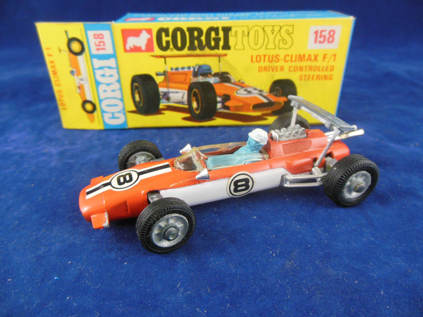 Corgi Toys 158 Lotus Climax controlador F 1 controlado volante cerca de nuevo, sin usar