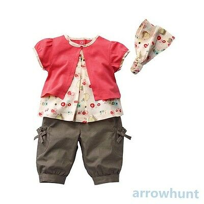 Kids Clothes Baby Top+Pants+Hat Set Outfits Fruits Pattern 3 Pcs Dress 0-3Years