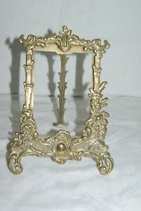 Antique-Ornate-Cast-Brass-Easel-Back-Picture-Photograph-Frame