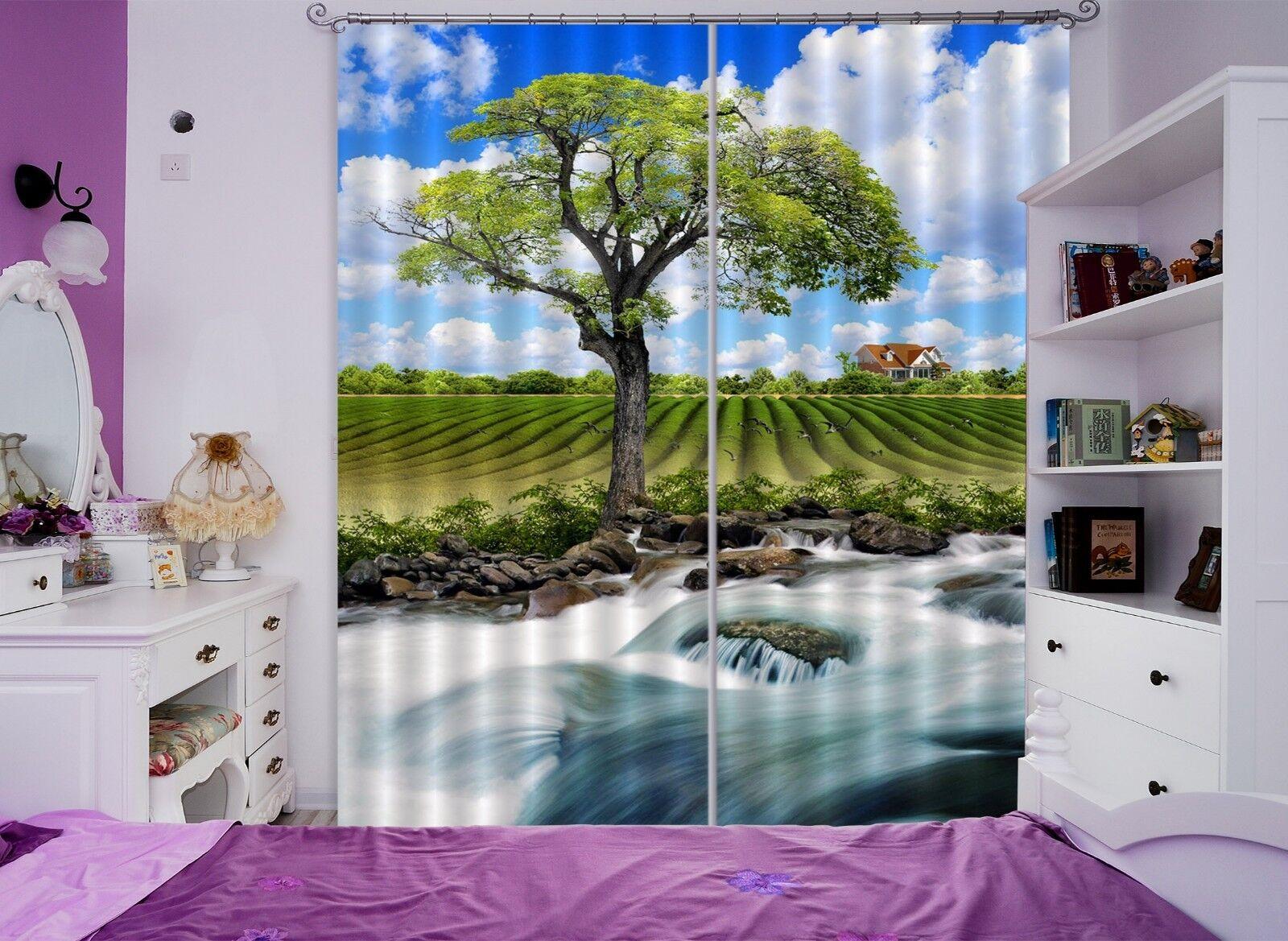 3D árbol Paddy Blockout Cortinas de impresión de fotografías Cortina Tela Cortinas Ventana CA