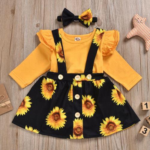 3Pcs Newborn Baby Girls Ruffer Sleeve T-shirt+Strap Skirt Headband Clothes Sets