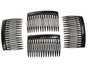 Pack 4 hair combs plain black plastic 7cm school comb grips hairslides slides