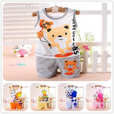 Baby Kids Boys Girls Summer Clothing Set Top Vest + Shorts Pajamas Sleepsuit