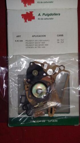 KW539 JUEGO REPARACION  CARBURADOR PEUGEOT 205-309-305,1.6 C AX 1.4 36-TLC-TLP