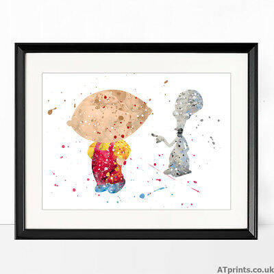 Family Guy Print Watercolor Picture Wall Art Framed Canvas Gift idea