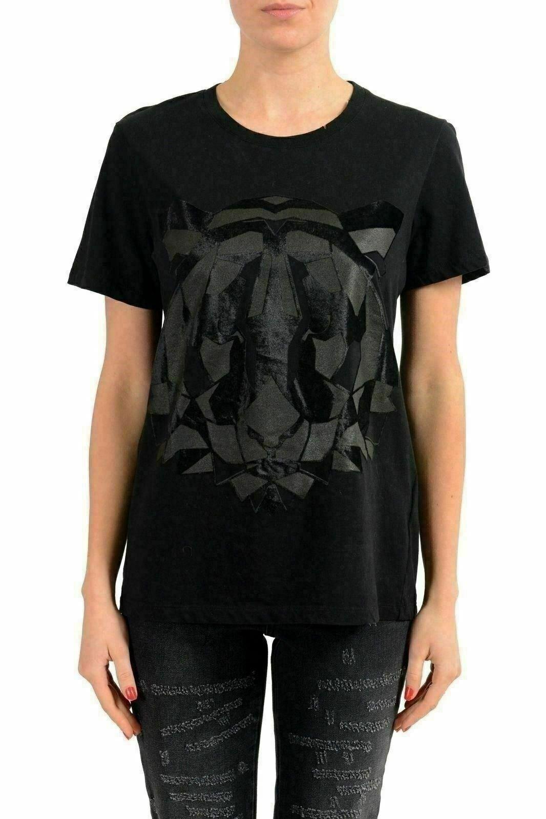 Just Cavalli Schwarz Grafik Kurzärmlig Damen T-Shirt US S It 40