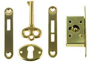 B361 Gold Plated Full Mortise Jewelry Box Lock Set Key Humidors