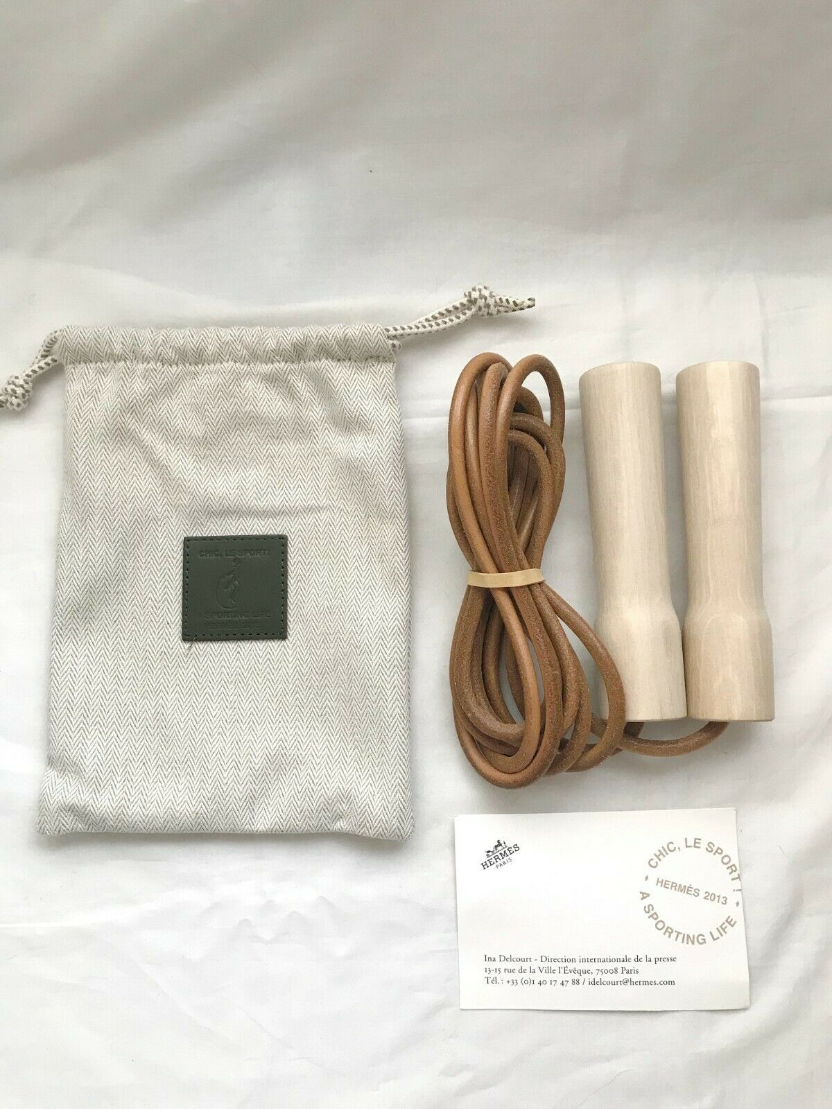 HERMES wood jumping skipping rope for petit h home cushion tray towel charm whip
