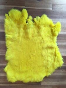 1x-Lemon-Rabbit-Skin-Real-Fur-Pelt-for-animal-training-crafts-fly-tying-LARP