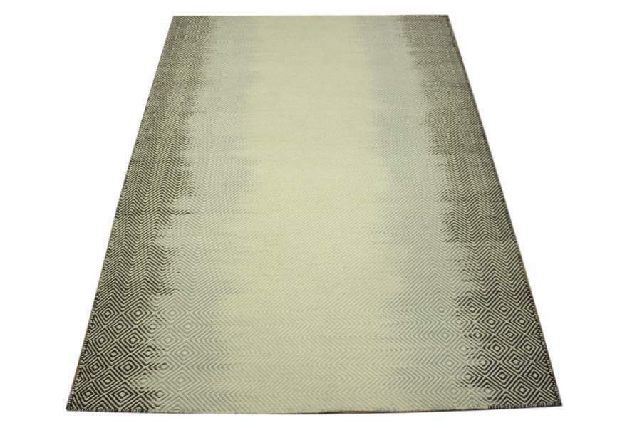 Teppich Kelim 160x230 cm 100% Wolle Handgewebt Handgewebt Handgewebt hellgrau schwarz wollweiß f3ea9a