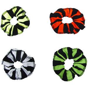 1 PAIR STRIPED SCRUNCHIES HAIR HEAD ELASTIC PONY TAIL BAND BOBBLE