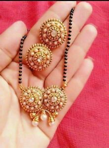 Gold-Plated-Indian-Mangalsutra-Set-Black-Beads-Earrings-Neckalce-Pendant-Jewelry