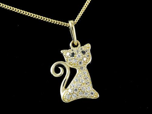 333 Gold kleiner Katze Anhänger mit Goldkkette und Zirkonia Stein 17 x 9,5 mm