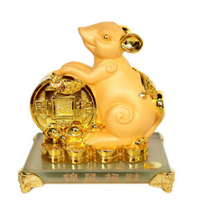 Chinese-Zodiac-Rat-Statue-with-Big-Golden-Coin