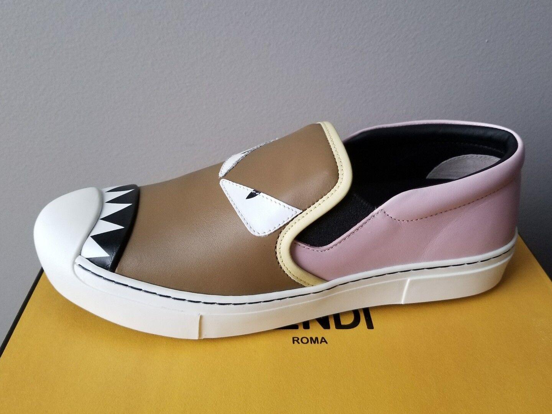 FENDI AMAZING MONSTER MONSTER MONSTER MULTI colore SLIP ON SKATE scarpe da ginnastica EU 38.5 I LOVE scarpe 600a04