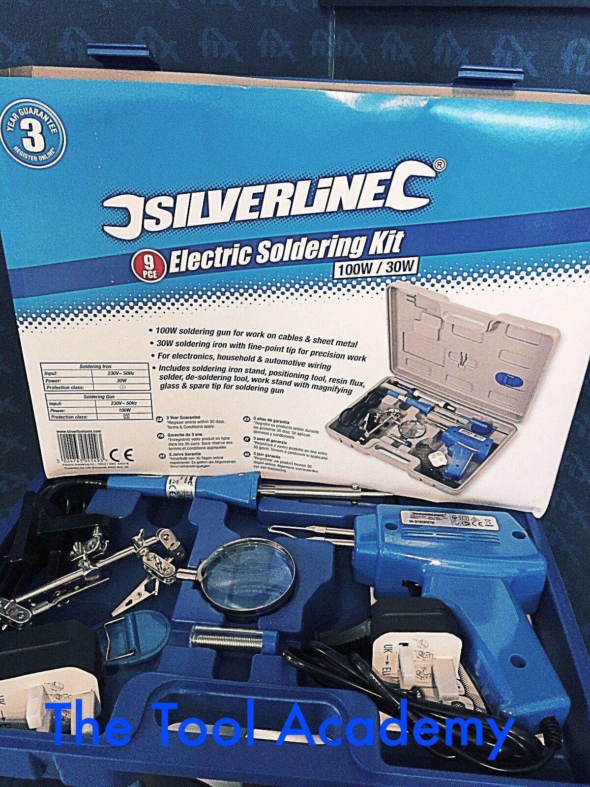 Soldering Gun Kit 9pce Spare Tip Solder Sucker 100w  845318