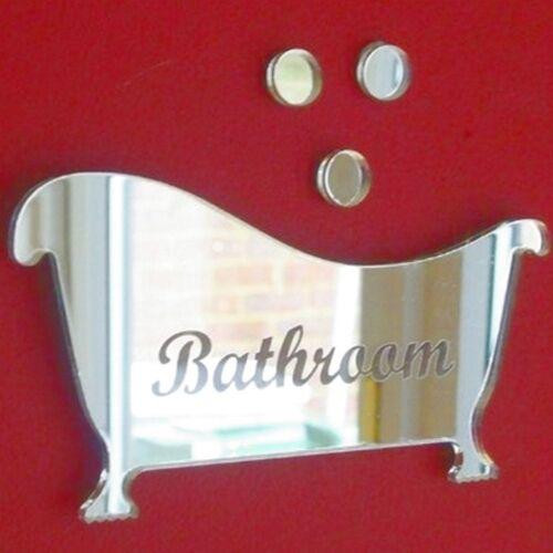 Bath /& Bubbles Acrylic Mirror Bathroom Door Sign 12cm x 6cm Engraved Bathroom