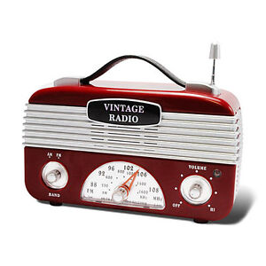 New-Portable-Red-Silver-1940-039-s-Style-Look-Vintage-Retro-AM-FM-Radio-Old