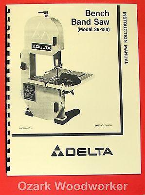 Delta 28 180 8 Quot Bench Band Saw Instruction Amp Parts Manual 0204 Ebay