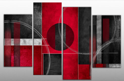Extra Large Red Black Grey Abstract Canvas Picture Split Multi 4 panel 5ft wide