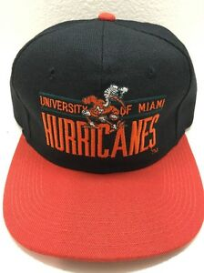 Vintage Univ. Of Miami Hurricanes Snapback Wool Hat Cap with Mascot ... 49c713369e5
