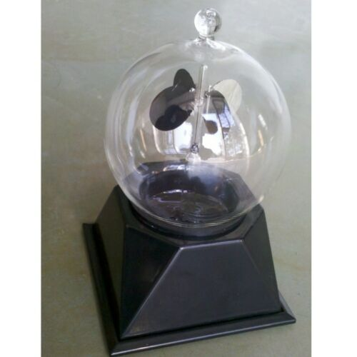 Crookes Radiometer Clear Glass Light Mill Solar Power Home Office Car Decoration