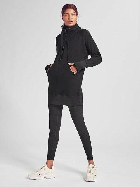ATHLETA Cozy Karma 1//4 Zip Sweatshirt Dress M Medium TALL Black Soft Fleece