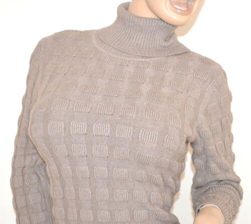 MAGLIONE BEIGE TORTORA donna maglioncino collo alto lana maglia manica lunga Z5