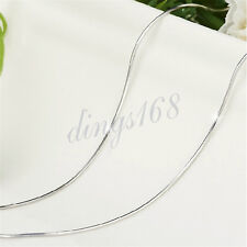 18K White Gold Filled 24 inch Stylish 2.4mm Wide Shiny Snake Chain Necklace H182