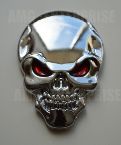 Self Adhesive Chrome 3D Metal SILVER Skull Badge for Nissan Pathfinder Figaro