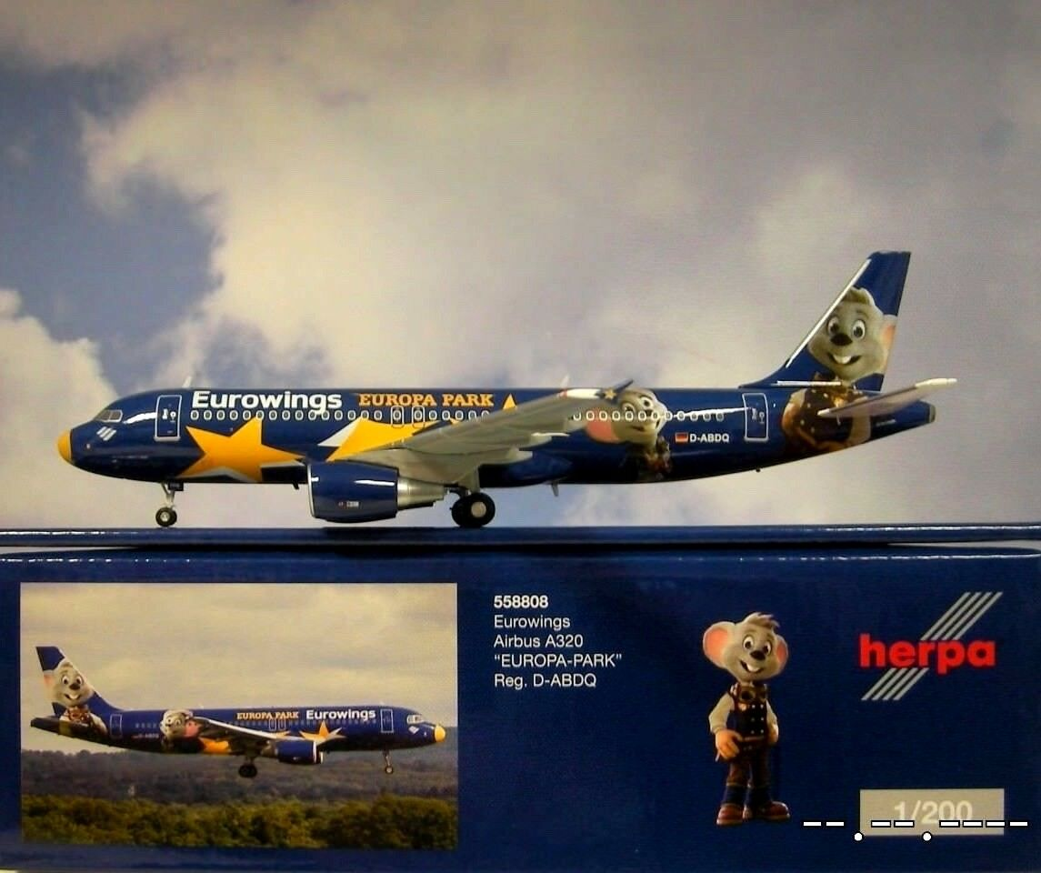 Herpa Wings 1 200 Airbus a320 Eurowings d-ABDQ Europe Park 558806