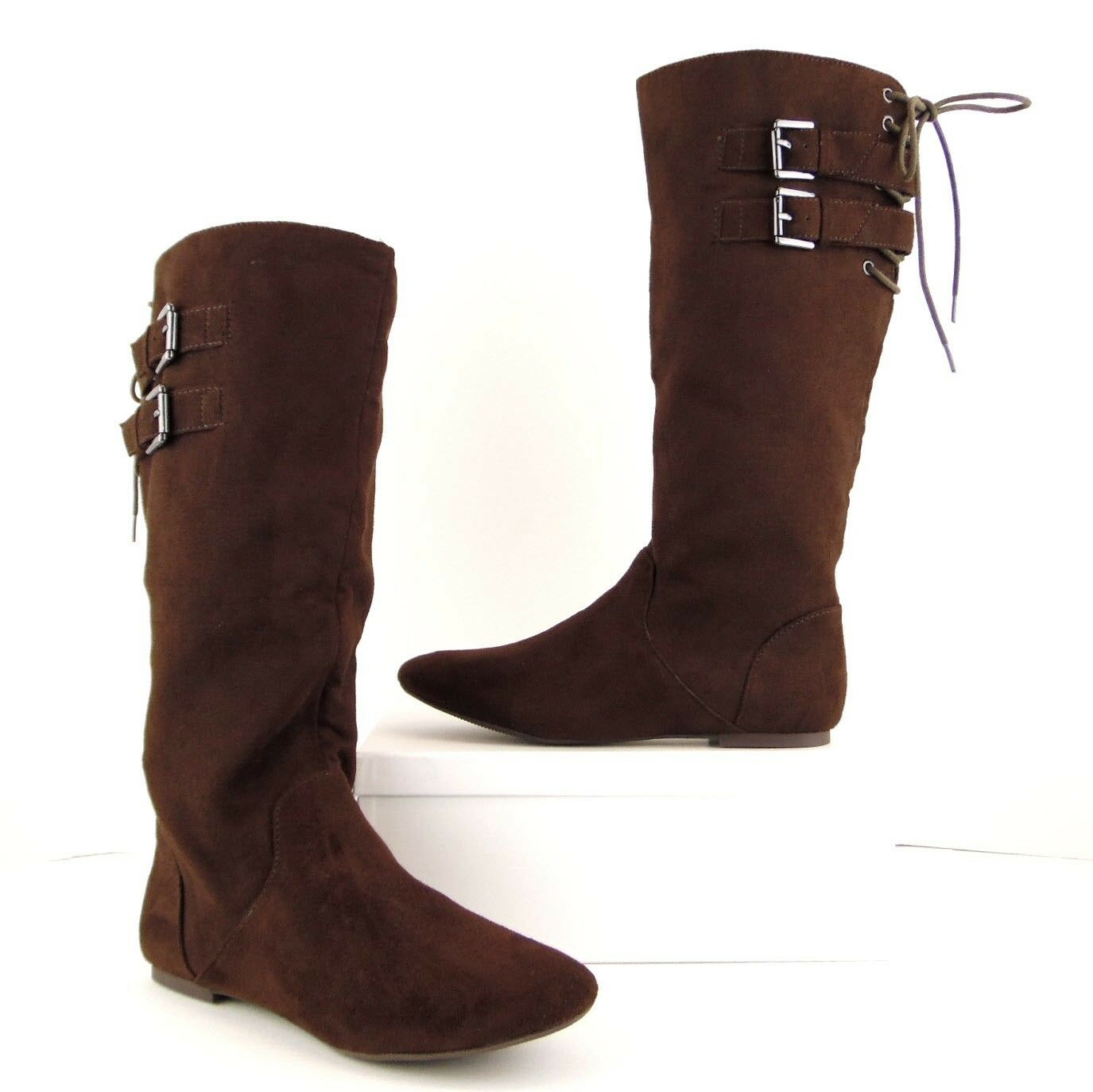 NWOB Material Girl Brown Faux Suede Knee High Flat Tall Riding Boots 6.5M (S539)