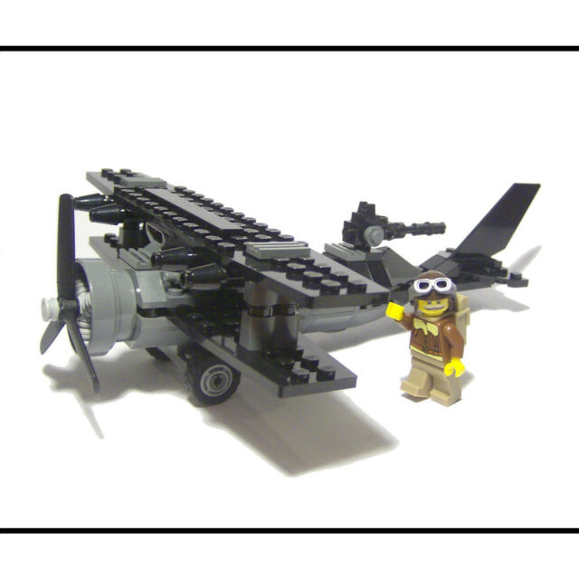 ☆ NEW ☆ Custom Lego WWI Gunner Biplane Airplane And 8803 Series 3 Pilot Minifig!