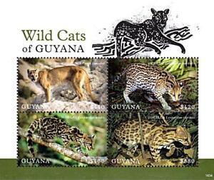 GUYANA-2018-WILD-CATS-M-S-MNH-ANIMALS-FELINES