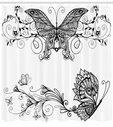 Mandala Digitaldruck DuschVorhang Schmetterling mit Blumen Gardinen Mit 12 haken