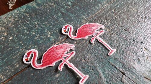 2 x Patch tropicale FLAMINGO Uccelli Rosa-Rosso APPLICAZIONE IMMAGINE DI STAFFA Set