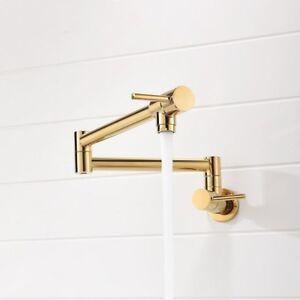 Details about Chrome Nickel Black Brass Pot Filler Wall Mounted Kitchen  Faucet Dual Handles