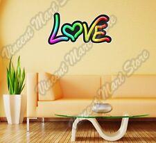 "Love Peace Friend Neon Light Type Wall Sticker Room Interior Decor 25""X14"""