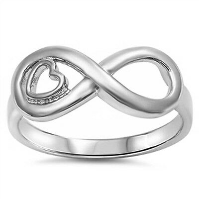 Infinity w/ Heart .925 Sterling Silver Ring Sizes 4-10