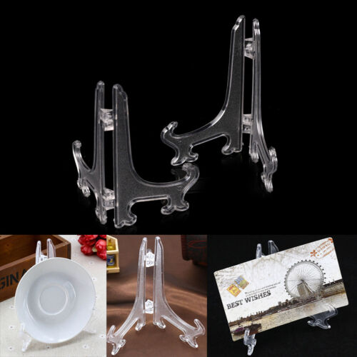 """2Pcs 5/""""9/""""11/"""" Clear Plastic Plate Photo Display Stand Picture Frame Holder XR"""