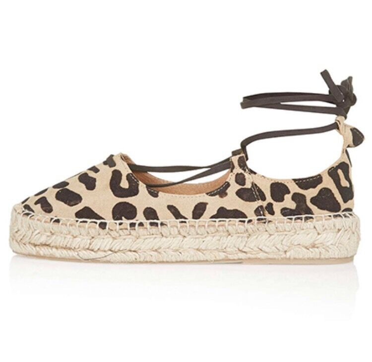 TOPSHOP KINGFISHER 100% REAL SUEDE TRUE LEOPARD ANKLE TIE ESPADRILLES UK 5 E  38