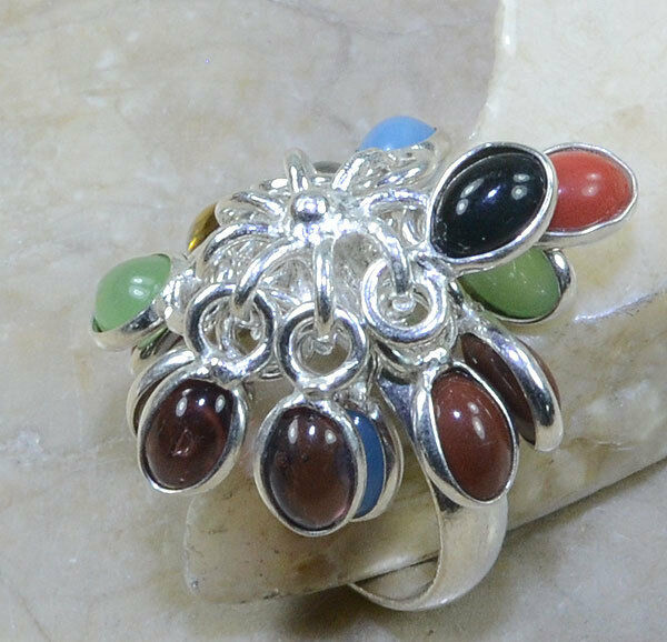 UNIQUE NEW ORIGINAL FUN GENUINE RED CORAL ONYX AMETHYST CHALCEDONY RING SZE 83 4